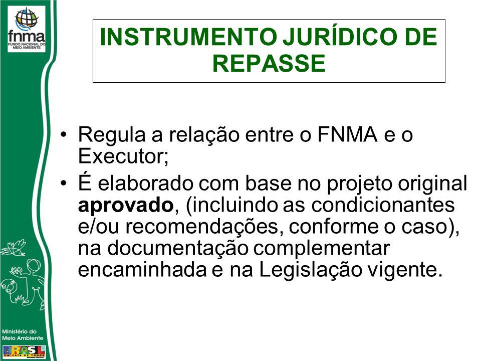 INSTRUMENTO JURÍDICO DE REPASSE Regula a relação entre o FNMA e o Executor; É elaborado com base no projeto original aprovado, (incluindo as condicionantes e/ou recomendações, conforme o caso), na documentação complementar encaminhada e na Legislação vigente.