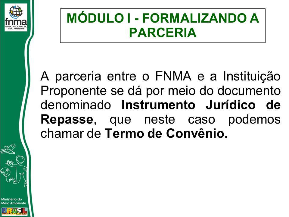 MÓDULO I - FORMALIZANDO A PARCERIA A parceria entre o FNMA e a Instituição Proponente se dá por meio do documento denominado Instrumento Jurídico de Repasse, que neste caso podemos chamar de Termo de Convênio.