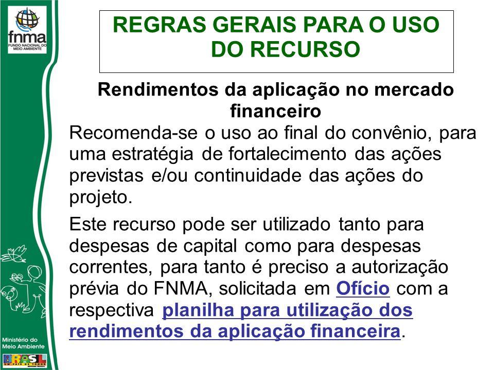 Rendimentos da aplicação no mercado financeiro Recomenda-se o uso ao final do convênio, para uma estratégia de fortalecimento das ações previstas e/ou continuidade das ações do projeto.