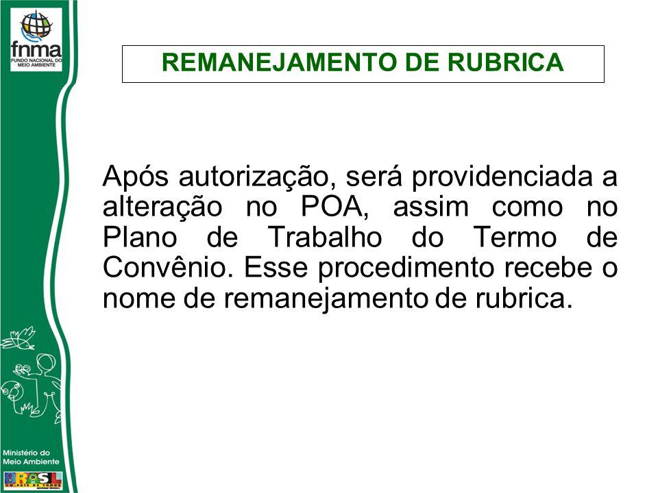 Após autorização, será providenciada a alteração no POA, assim como no Plano de Trabalho do Termo de Convênio.