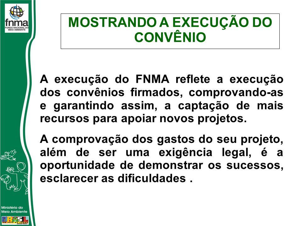 MOSTRANDO A EXECUÇÃO DO CONVÊNIO A execução do FNMA reflete a execução dos convênios firmados, comprovando-as e garantindo assim, a captação de mais recursos para apoiar novos projetos.