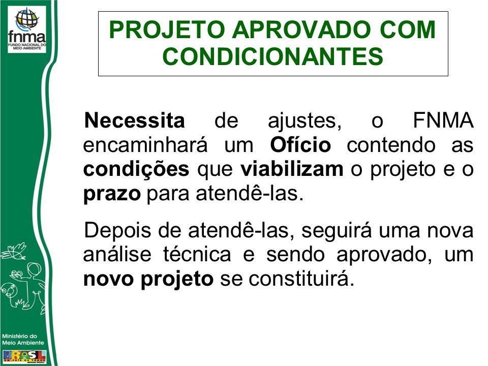 PROJETO APROVADO COM CONDICIONANTES Necessita de ajustes, o FNMA encaminhará um Ofício contendo as condições que viabilizam o projeto e o prazo para atendê-las.