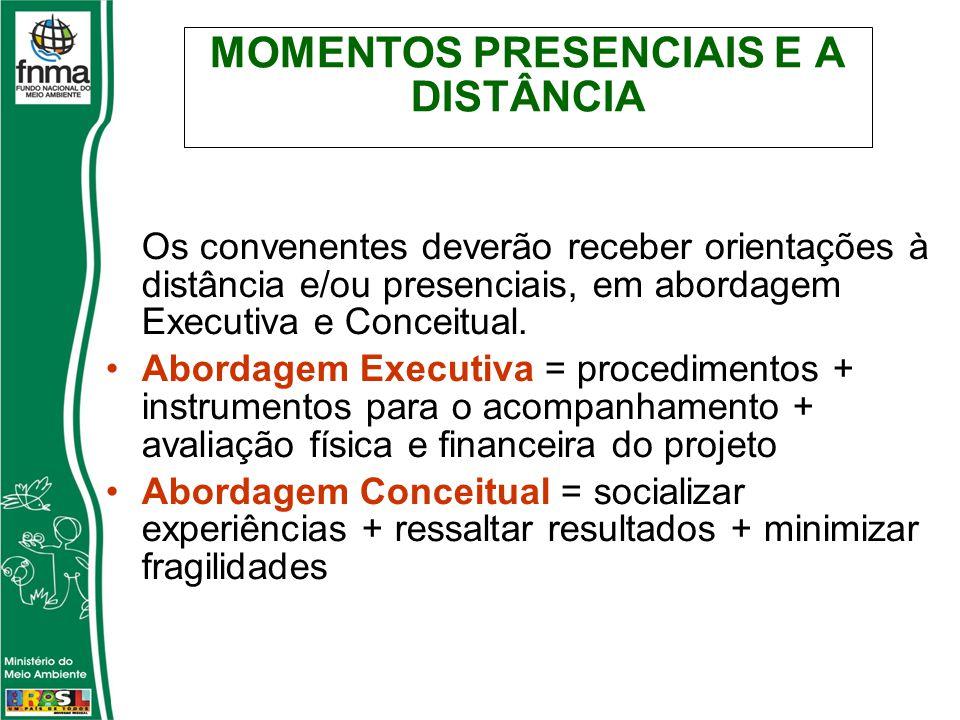 MOMENTOS PRESENCIAIS E A DISTÂNCIA Os convenentes deverão receber orientações à distância e/ou presenciais, em abordagem Executiva e Conceitual.