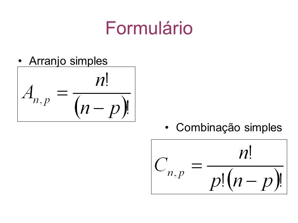 Formulário Arranjo simples Combinação simples