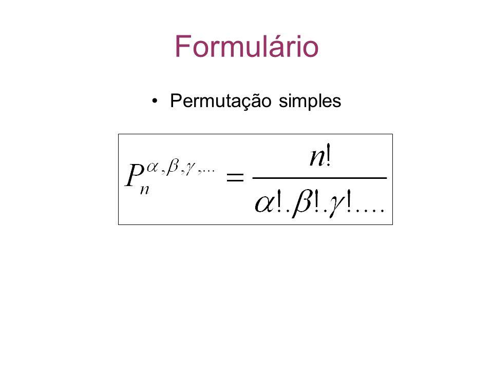 Formulário Permutação simples