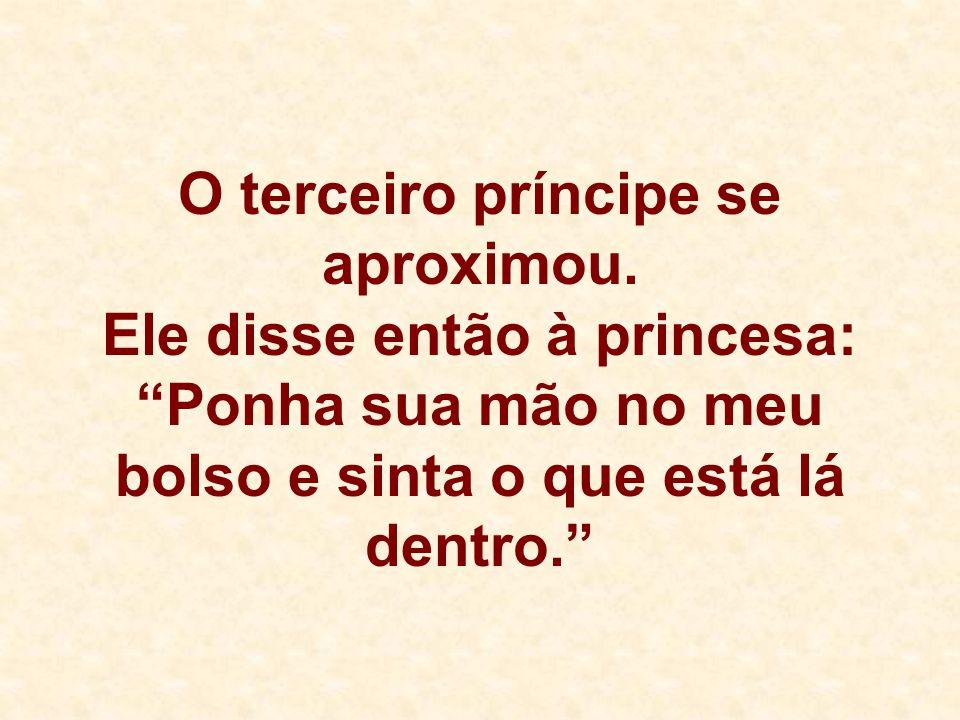 """O terceiro príncipe se aproximou. Ele disse então à princesa: """"Ponha sua mão no meu bolso e sinta o que está lá dentro."""""""