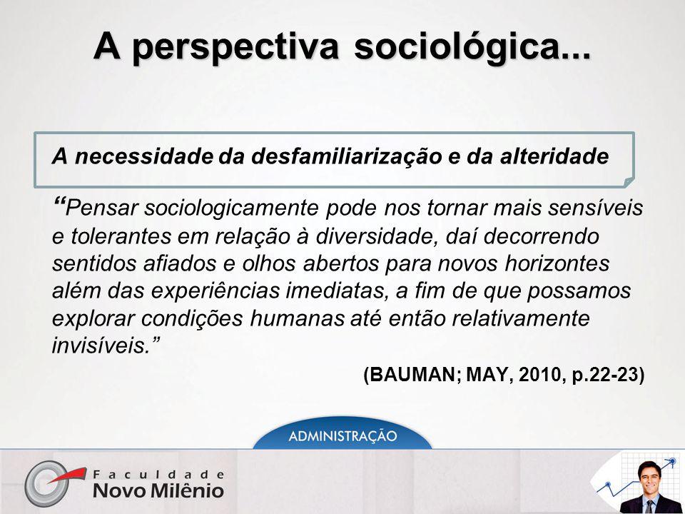 """A perspectiva sociológica... A necessidade da desfamiliarização e da alteridade """" Pensar sociologicamente pode nos tornar mais sensíveis e tolerantes"""
