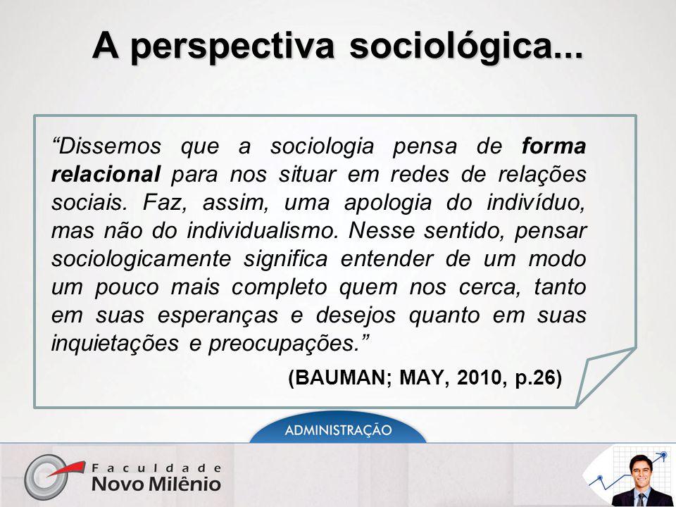 """A perspectiva sociológica... """"Dissemos que a sociologia pensa de forma relacional para nos situar em redes de relações sociais. Faz, assim, uma apolog"""