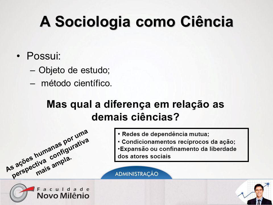 A Sociologia como Ciência Possui: –Objeto de estudo; – método científico. Mas qual a diferença em relação as demais ciências? As ações humanas por uma