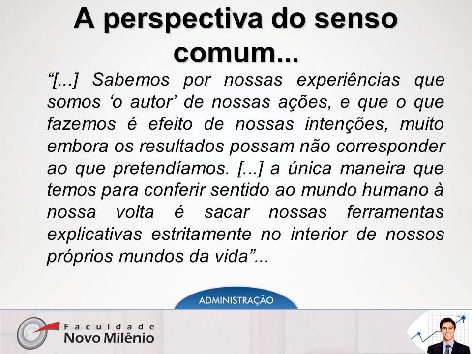 """A perspectiva do senso comum... """"[...] Sabemos por nossas experiências que somos 'o autor' de nossas ações, e que o que fazemos é efeito de nossas int"""