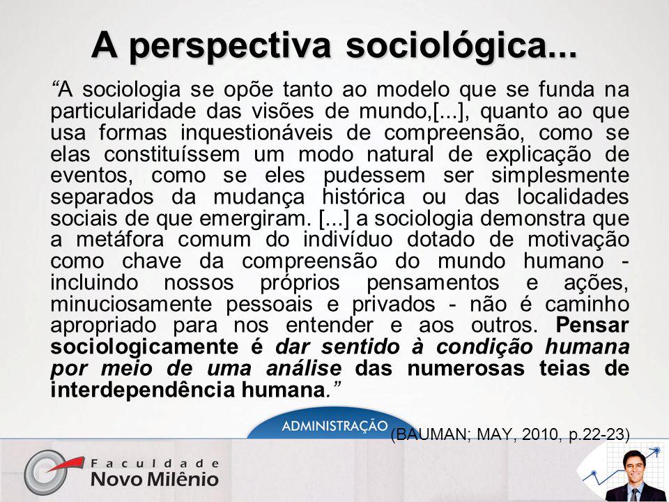 """A perspectiva sociológica... """"A sociologia se opõe tanto ao modelo que se funda na particularidade das visões de mundo,[...], quanto ao que usa formas"""