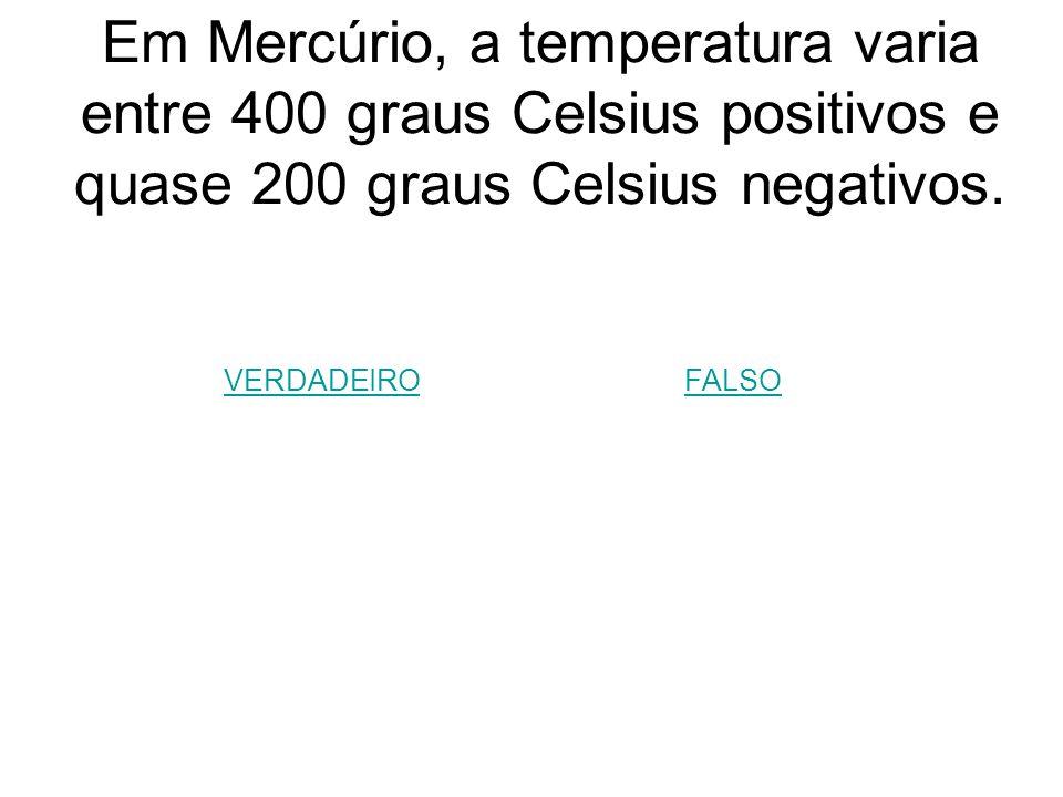 Em Mercúrio, a temperatura varia entre 400 graus Celsius positivos e quase 200 graus Celsius negativos.