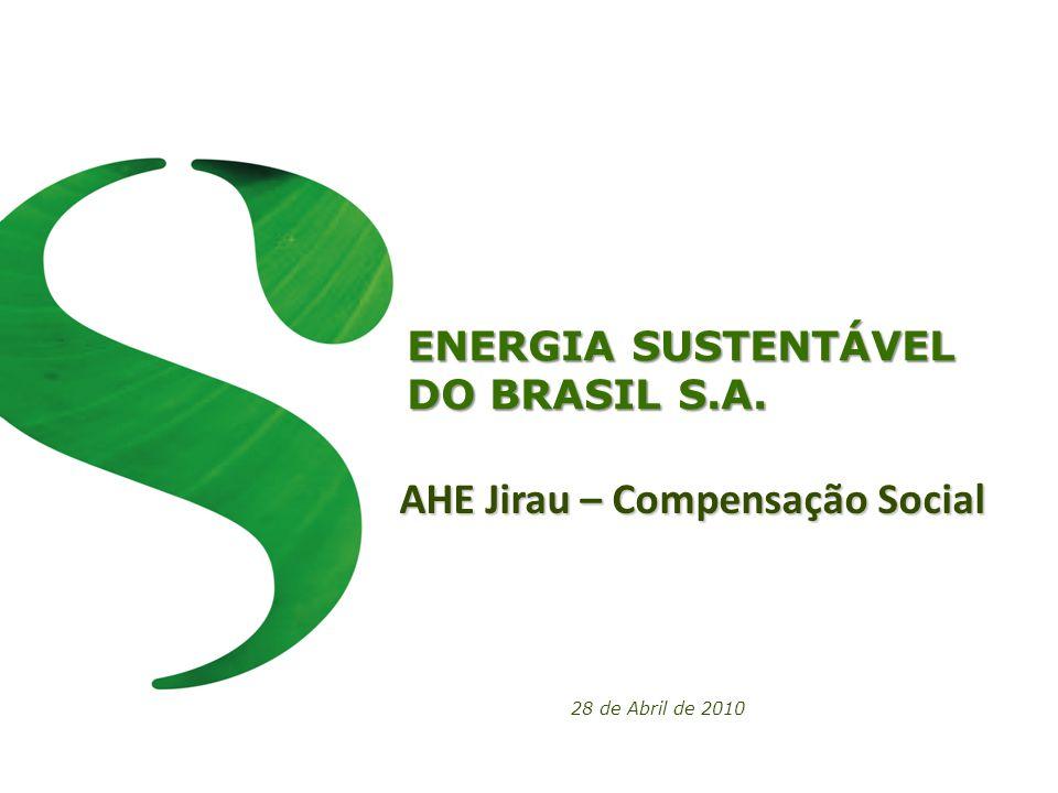 ENERGIA SUSTENTÁVEL DO BRASIL S.A. 28 de Abril de 2010 AHE Jirau – Compensação Social