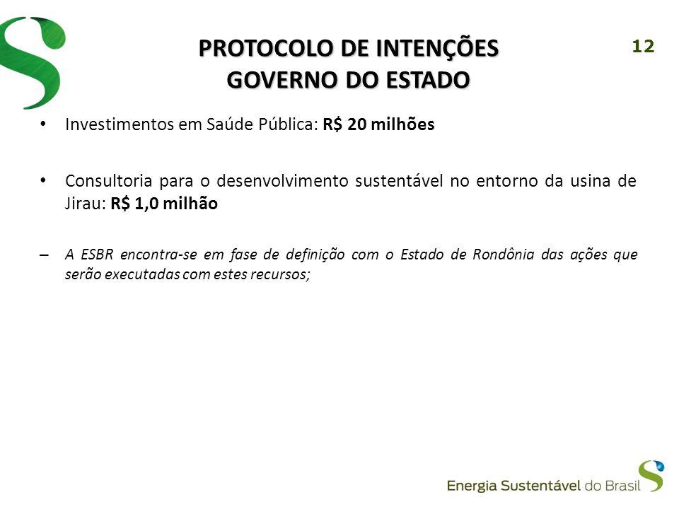 12 PROTOCOLO DE INTENÇÕES GOVERNO DO ESTADO Investimentos em Saúde Pública: R$ 20 milhões Consultoria para o desenvolvimento sustentável no entorno da usina de Jirau: R$ 1,0 milhão – A ESBR encontra-se em fase de definição com o Estado de Rondônia das ações que serão executadas com estes recursos;