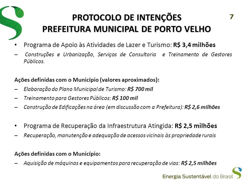 7 PROTOCOLO DE INTENÇÕES PREFEITURA MUNICIPAL DE PORTO VELHO Programa de Apoio às Atividades de Lazer e Turismo: R$ 3,4 milhões – Construções e Urbanização, Serviços de Consultoria e Treinamento de Gestores Públicos.