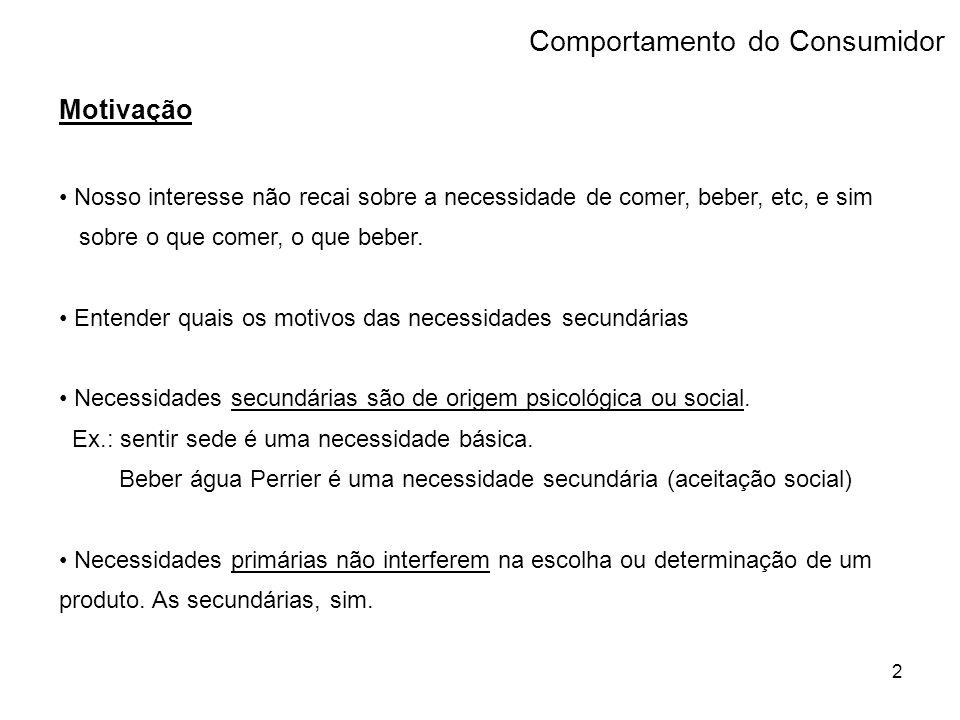 13 Fatores Sociais > grupos de referência (ou de afinidade) - primários: interação mais continua e informal - secundários: interação menos contínua e mais formal Comportamento do Consumidor
