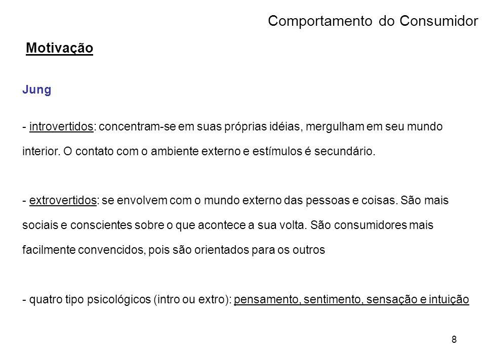 9 Comportamento do Consumidor Motivação Jung - pensamento: relacionado com a verdade, lógica e objetivos.