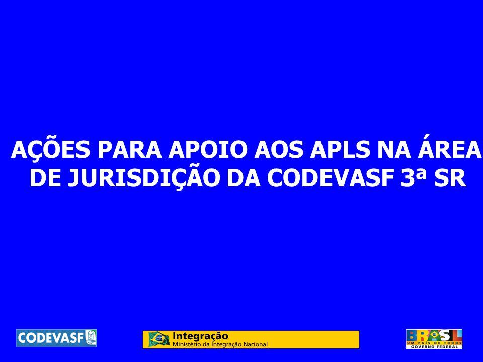 AÇÕES PARA APOIO AOS APLS NA ÁREA DE JURISDIÇÃO DA CODEVASF 3ª SR