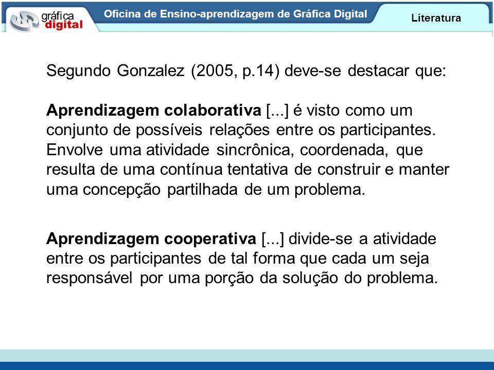 Oficina de Ensino-aprendizagem de Gráfica Digital Literatura Segundo Gonzalez (2005, p.14) deve-se destacar que: Aprendizagem colaborativa [...] é vis
