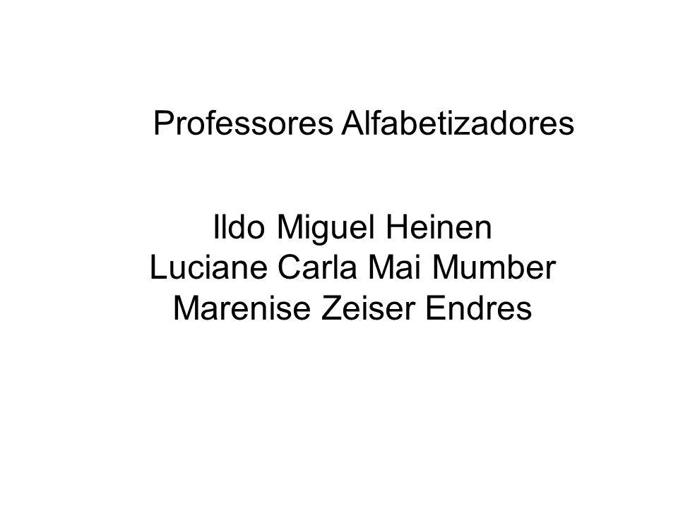 Ildo Miguel Heinen Luciane Carla Mai Mumber Marenise Zeiser Endres Professores Alfabetizadores