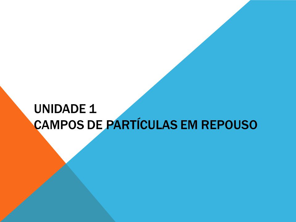 UNIDADE 1 CAMPOS DE PARTÍCULAS EM REPOUSO