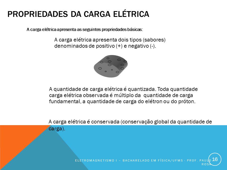 PROPRIEDADES DA CARGA ELÉTRICA A carga elétrica apresenta as seguintes propriedades básicas: ELETROMAGNETISMO I – BACHARELADO EM FÍSICA/UFMS - PROF. P