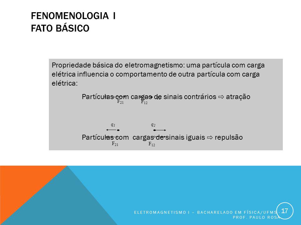 FENOMENOLOGIA I FATO BÁSICO ELETROMAGNETISMO I – BACHARELADO EM FÍSICA/UFMS - PROF. PAULO ROSA 17 Propriedade básica do eletromagnetismo: uma partícul