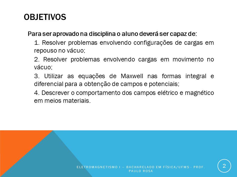 OBJETIVOS Para ser aprovado na disciplina o aluno deverá ser capaz de: 1. Resolver problemas envolvendo configurações de cargas em repouso no vácuo; 2