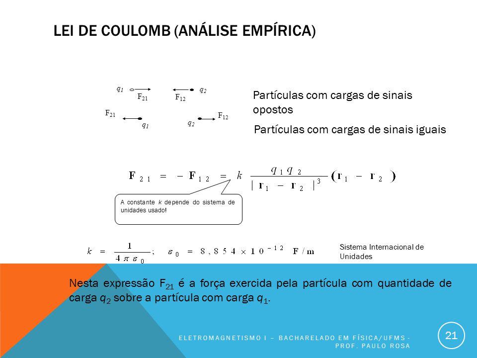 LEI DE COULOMB (ANÁLISE EMPÍRICA) ELETROMAGNETISMO I – BACHARELADO EM FÍSICA/UFMS - PROF. PAULO ROSA 21 Nesta expressão F 21 é a força exercida pela p