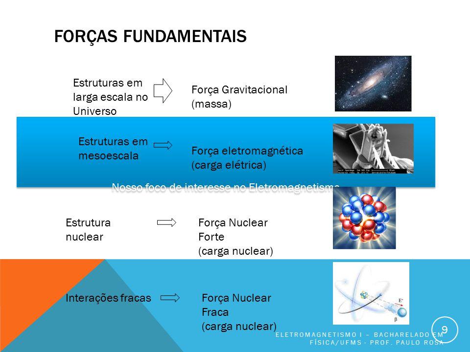 Nosso foco de interesse no Eletromagnetismo FORÇAS FUNDAMENTAIS ELETROMAGNETISMO I – BACHARELADO EM FÍSICA/UFMS - PROF. PAULO ROSA 9 Estruturas em lar