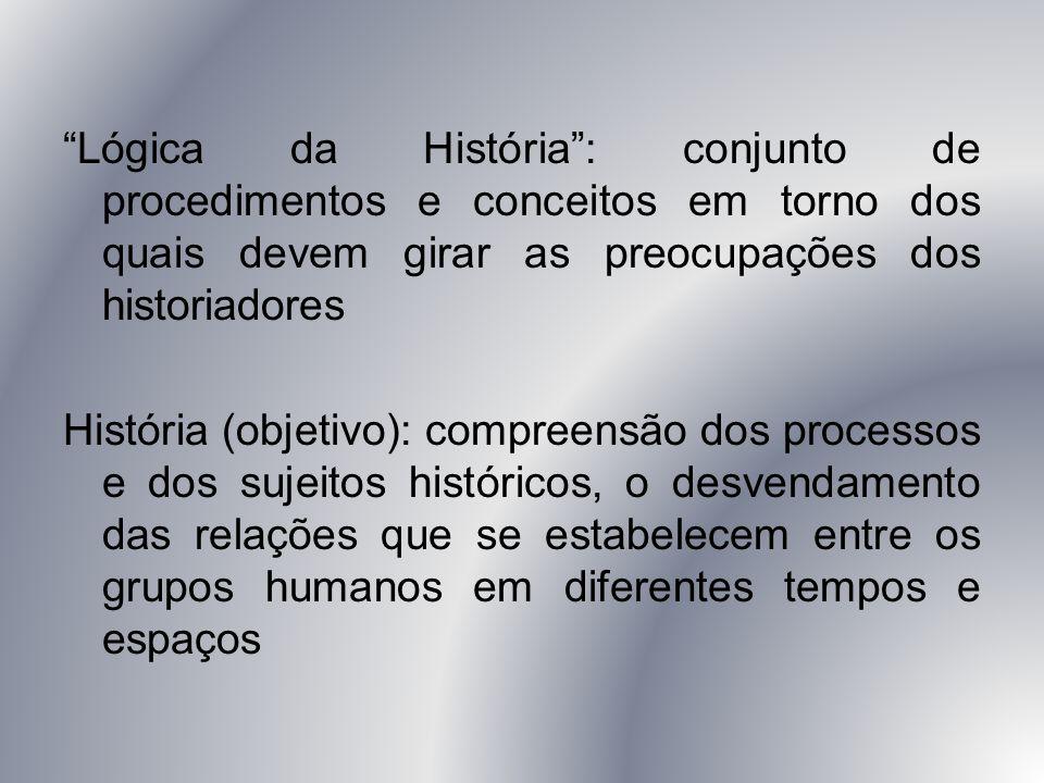 """""""Lógica da História"""": conjunto de procedimentos e conceitos em torno dos quais devem girar as preocupações dos historiadores História (objetivo): comp"""