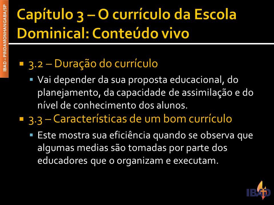 IBAD – PINDAMONHANGABA/SP  3.2 – Duração do currículo  Vai depender da sua proposta educacional, do planejamento, da capacidade de assimilação e do