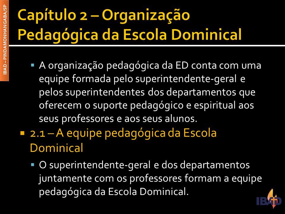 IBAD – PINDAMONHANGABA/SP  A organização pedagógica da ED conta com uma equipe formada pelo superintendente-geral e pelos superintendentes dos depart