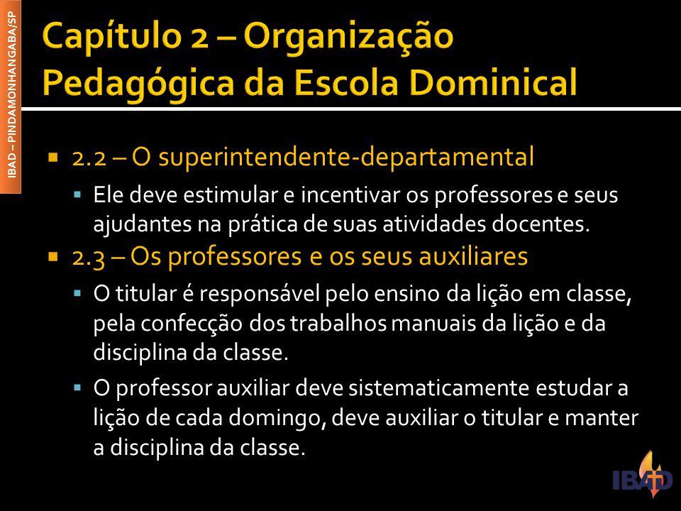 IBAD – PINDAMONHANGABA/SP  2.4 – A organização dos departamentos e das classes  Para organizar pedagogicamente a Escola Dominical, faz-se necessário agrupar os alunos por idade e por gênero.