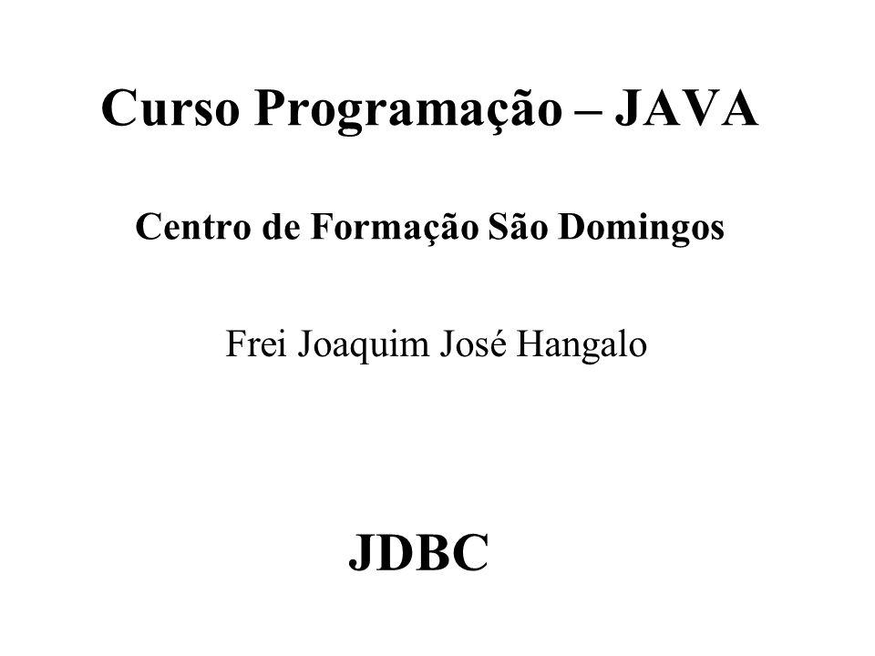 Exemplo de navegação em BD (cont.) public NavegaBanco(){ driver= sun.jdbc.odbc.JdbcOdbcDriver ; url= jdbc:odbc:Driver={Microsoft Access Driver (*.mdb)};DBQ=c:/java/empresa.mdb ; jlcpf=new JLabel( Código ); jlnome=new JLabel( Nome ); jlcargo=new JLabel( Cargo ); jlsalario=new JLabel( Salário ); jtfcpf=new JTextField(10); jtfnome=new JTextField(10); jtfcargo=new JTextField(10); jtfsalario=new JTextField(10); jbproximo=new JButton( próximo ); jbanterior=new JButton( anterior ); jbprimeiro=new JButton( primeiro ); jbultimo=new JButton( último );