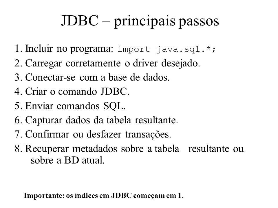 1. Incluir no programa: import java.sql.*; 2. Carregar corretamente o driver desejado. 3. Conectar-se com a base de dados. 4. Criar o comando JDBC. 5.