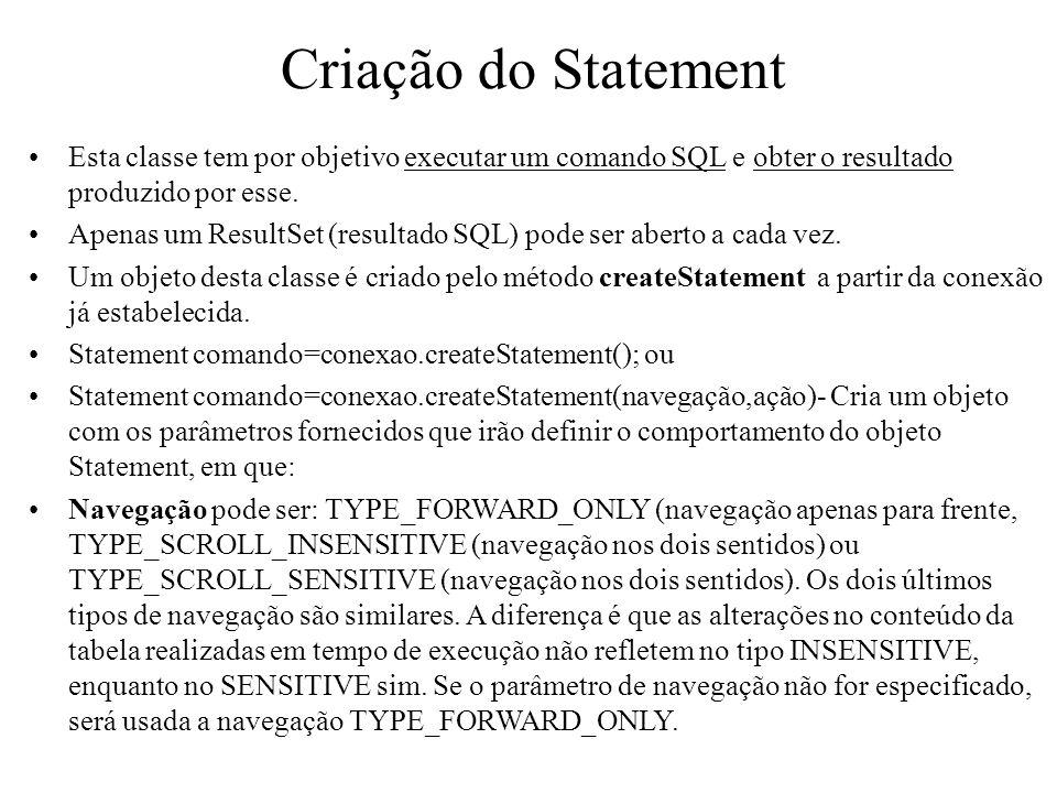 Criação do Statement Esta classe tem por objetivo executar um comando SQL e obter o resultado produzido por esse. Apenas um ResultSet (resultado SQL)