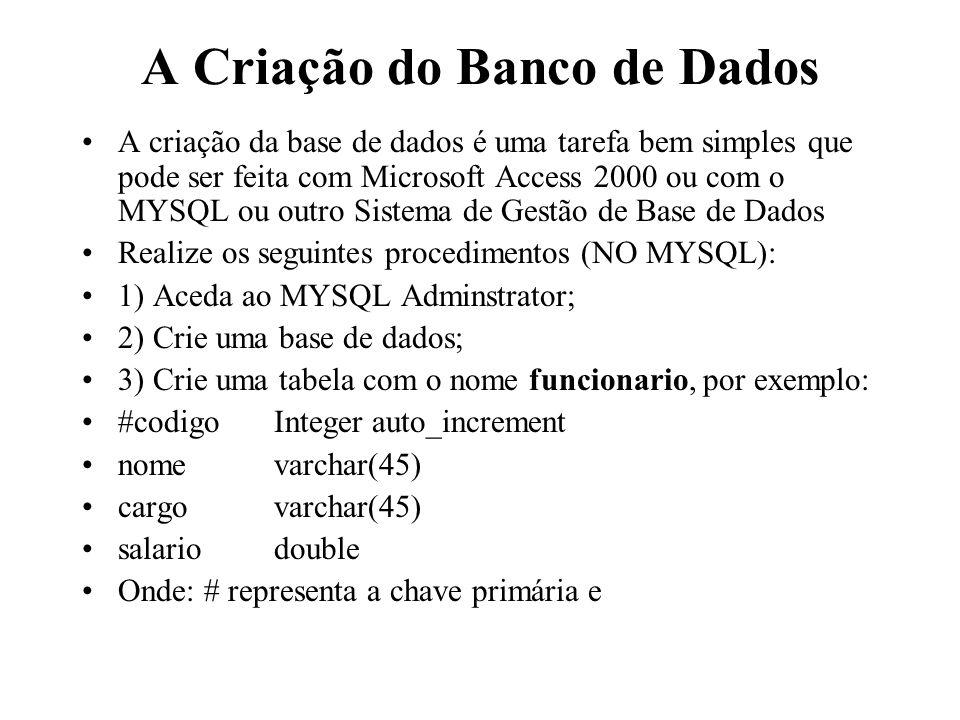 Exemplo (cont.) public void listaDados (){ String sql= select cpf,nome,cargo,salario from empregados ; try{ comando=conexao.createStatement(); resultado=comando.executeQuery(sql); while(resultado.next()){ String cpf=resultado.getString( codigo ); String nome=resultado.getString( nome ); String cargo=resultado.getString( cargo ); String salario=resultado.getString( salario ); System.out.println( Código: +codigo+ - + NOME: +nome+ - + CARGO: +cargo+ - + SALARIO: +salario); } catch(SQLException SqlExc){ System.out.println( Erro de SQL! ); }