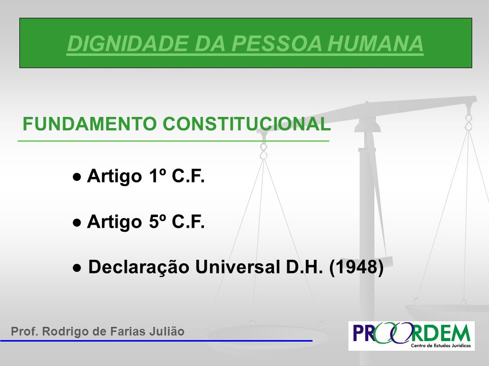 DIGNIDADE DA PESSOA HUMANA FUNDAMENTO CONSTITUCIONAL ● Artigo 1º C.F. ● Artigo 5º C.F. ● Declaração Universal D.H. (1948) Prof. Rodrigo de Farias Juli