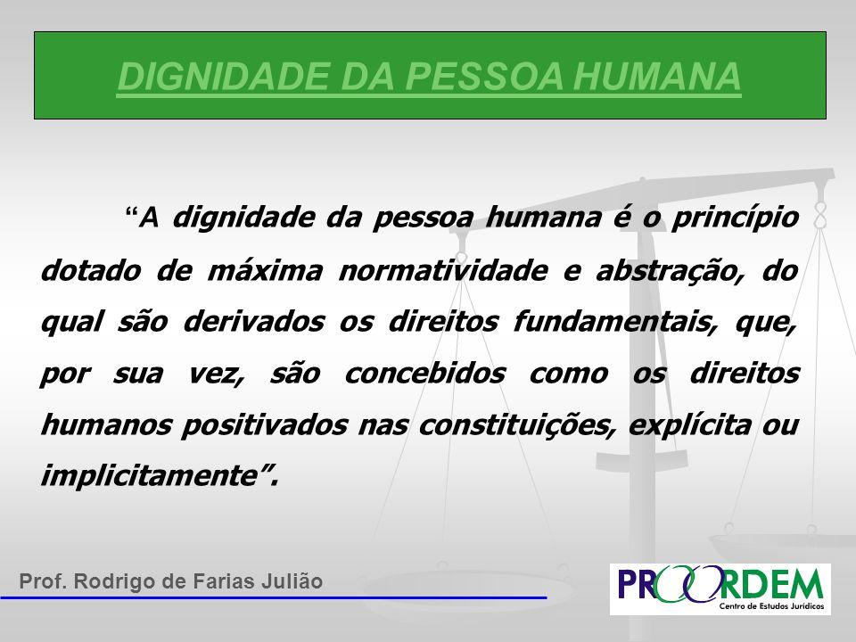 """DIGNIDADE DA PESSOA HUMANA """"A dignidade da pessoa humana é o princípio dotado de máxima normatividade e abstração, do qual são derivados os direitos f"""