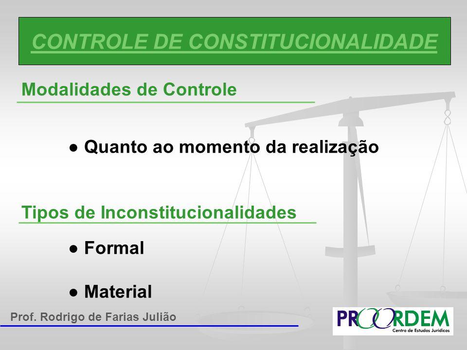 CONTROLE DE CONSTITUCIONALIDADE Modalidades de Controle ● Quanto ao momento da realização Tipos de Inconstitucionalidades ● Formal ● Material Prof. Ro