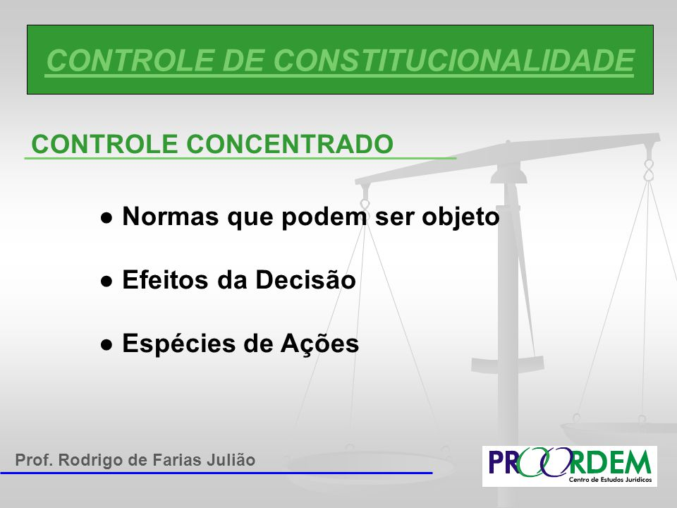 CONTROLE DE CONSTITUCIONALIDADE CONTROLE CONCENTRADO ● Normas que podem ser objeto ● Efeitos da Decisão ● Espécies de Ações Prof. Rodrigo de Farias Ju
