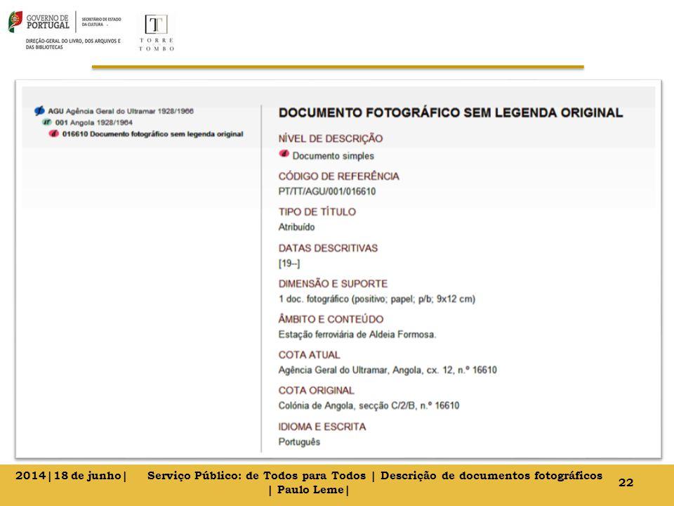 22 2014|18 de junho| Serviço Público: de Todos para Todos | Descrição de documentos fotográficos | Paulo Leme|