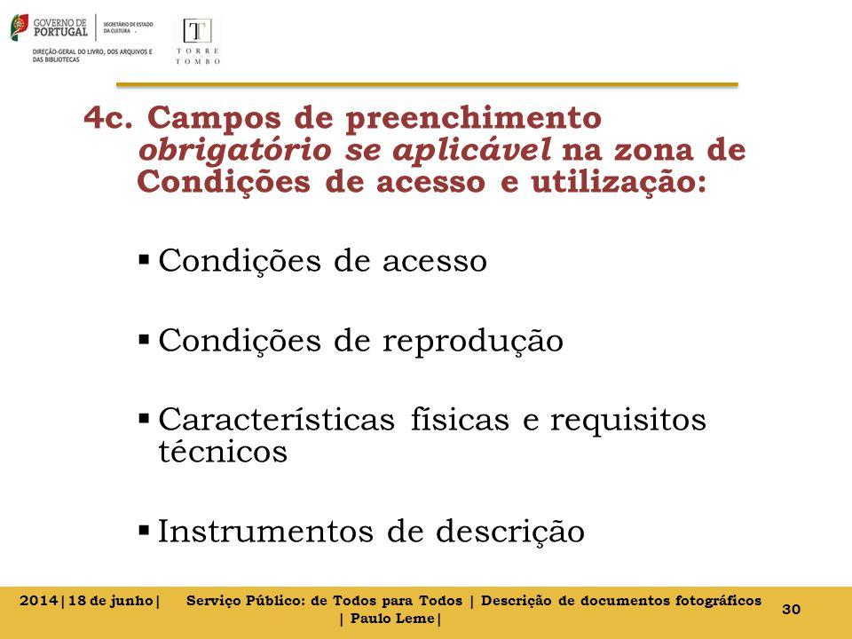 4c. Campos de preenchimento obrigatório se aplicável na zona de Condições de acesso e utilização:  Condições de acesso  Condições de reprodução  Ca