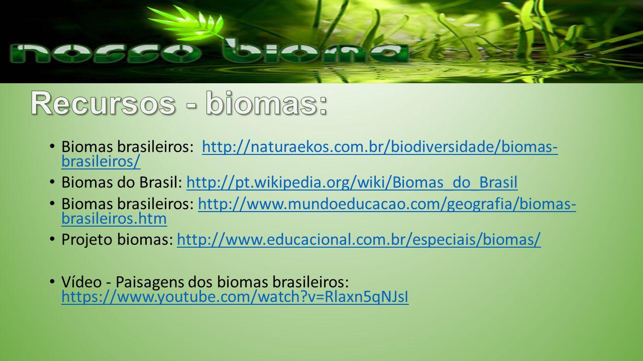 Biomas brasileiros: http://naturaekos.com.br/biodiversidade/biomas- brasileiros/http://naturaekos.com.br/biodiversidade/biomas- brasileiros/ Biomas do Brasil: http://pt.wikipedia.org/wiki/Biomas_do_Brasilhttp://pt.wikipedia.org/wiki/Biomas_do_Brasil Biomas brasileiros: http://www.mundoeducacao.com/geografia/biomas- brasileiros.htmhttp://www.mundoeducacao.com/geografia/biomas- brasileiros.htm Projeto biomas: http://www.educacional.com.br/especiais/biomas/http://www.educacional.com.br/especiais/biomas/ Vídeo - Paisagens dos biomas brasileiros: https://www.youtube.com/watch?v=Rlaxn5qNJsI https://www.youtube.com/watch?v=Rlaxn5qNJsI