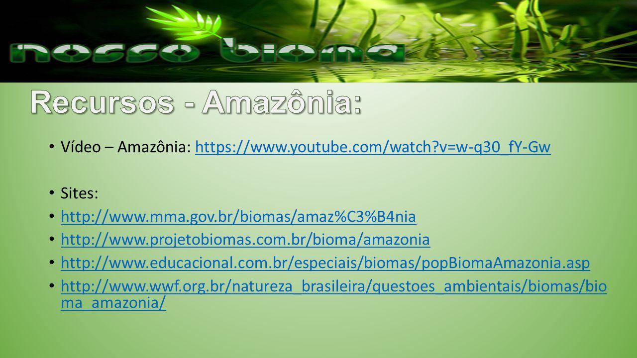 Vídeo – Amazônia: https://www.youtube.com/watch?v=w-q30_fY-Gwhttps://www.youtube.com/watch?v=w-q30_fY-Gw Sites: http://www.mma.gov.br/biomas/amaz%C3%B4nia http://www.projetobiomas.com.br/bioma/amazonia http://www.educacional.com.br/especiais/biomas/popBiomaAmazonia.asp http://www.wwf.org.br/natureza_brasileira/questoes_ambientais/biomas/bio ma_amazonia/ http://www.wwf.org.br/natureza_brasileira/questoes_ambientais/biomas/bio ma_amazonia/
