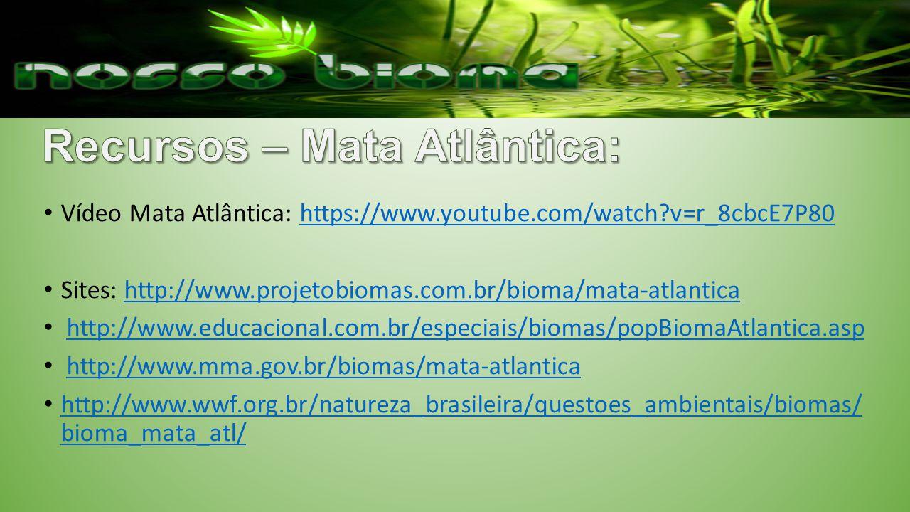 Vídeo Mata Atlântica: https://www.youtube.com/watch?v=r_8cbcE7P80https://www.youtube.com/watch?v=r_8cbcE7P80 Sites: http://www.projetobiomas.com.br/bioma/mata-atlanticahttp://www.projetobiomas.com.br/bioma/mata-atlantica http://www.educacional.com.br/especiais/biomas/popBiomaAtlantica.asp http://www.mma.gov.br/biomas/mata-atlantica http://www.wwf.org.br/natureza_brasileira/questoes_ambientais/biomas/ bioma_mata_atl/ http://www.wwf.org.br/natureza_brasileira/questoes_ambientais/biomas/ bioma_mata_atl/