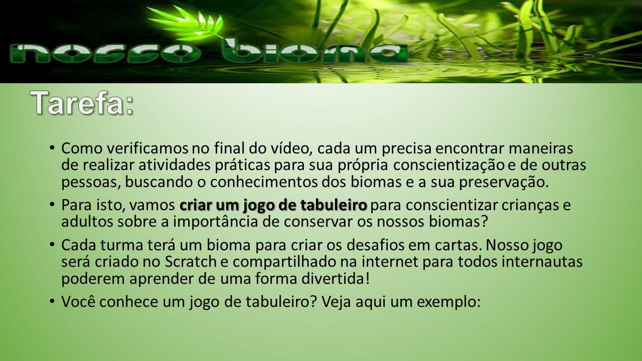 Como verificamos no final do vídeo, cada um precisa encontrar maneiras de realizar atividades práticas para sua própria conscientização e de outras pessoas, buscando o conhecimentos dos biomas e a sua preservação.