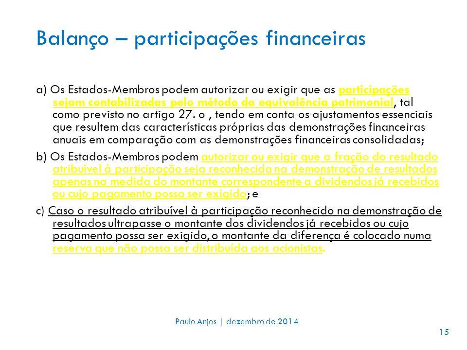 Balanço – participações financeiras a) Os Estados-Membros podem autorizar ou exigir que as participações sejam contabilizadas pelo método da equivalência patrimonial, tal como previsto no artigo 27.