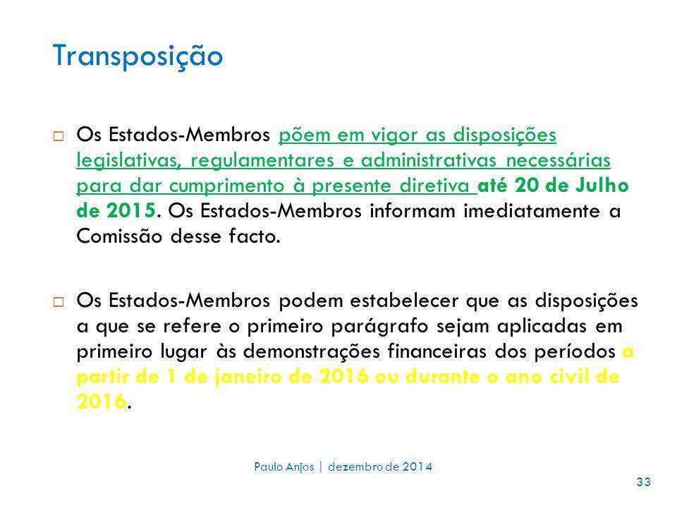 Transposição  Os Estados-Membros põem em vigor as disposições legislativas, regulamentares e administrativas necessárias para dar cumprimento à presente diretiva até 20 de Julho de 2015.